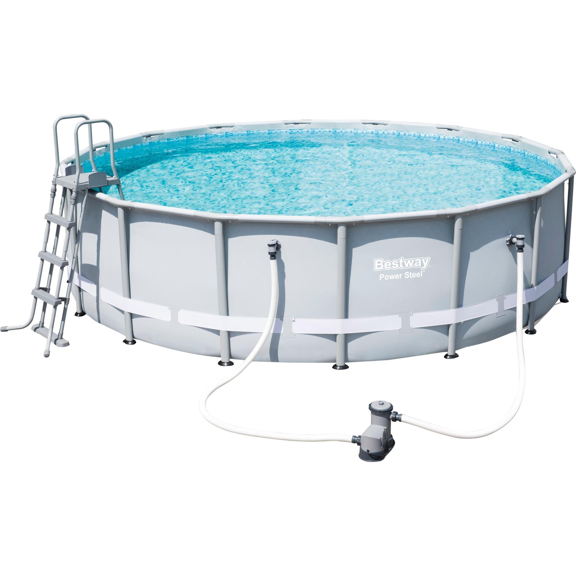 power-steel-56451-framed-pool-round-pool-19480l-blaa-graa-swimmingpool-til-over-jorden-swimming-pool