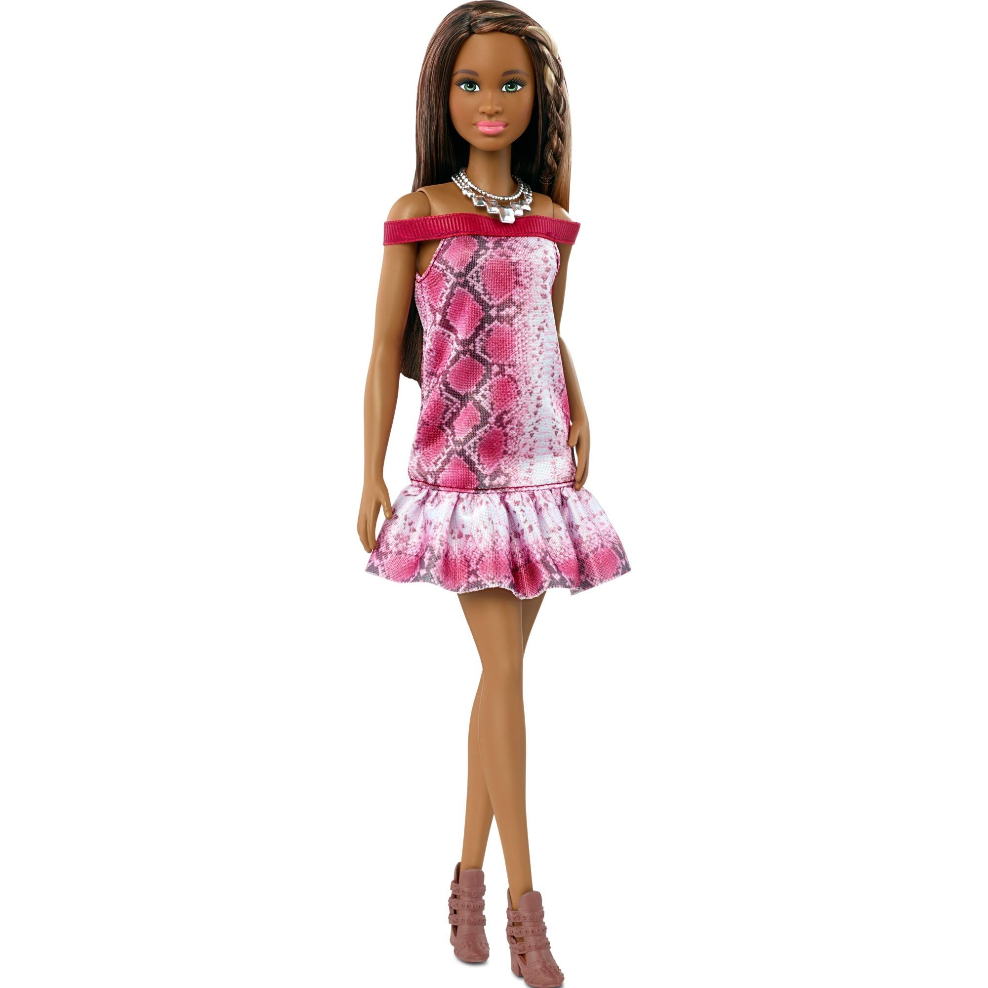 barbie-fashionista-dukke-med-slangeskinskjole