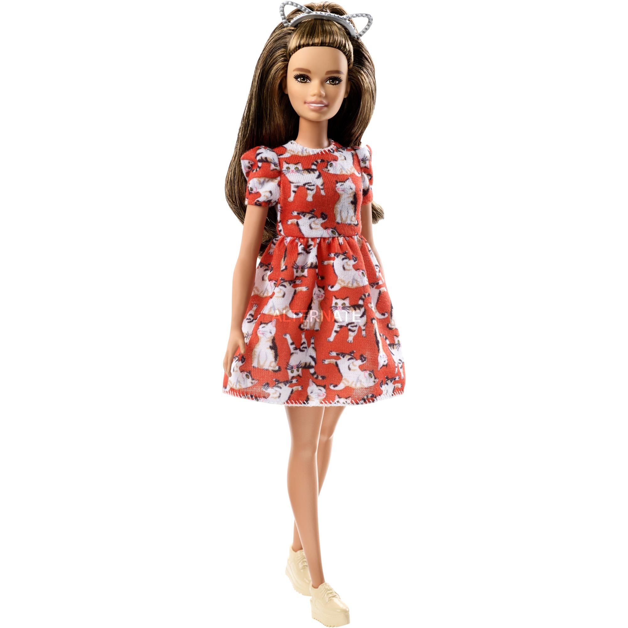 Barbie Mattel Fashionista Dukke Fjf57 Kitty Dress Petite P4fdHx4