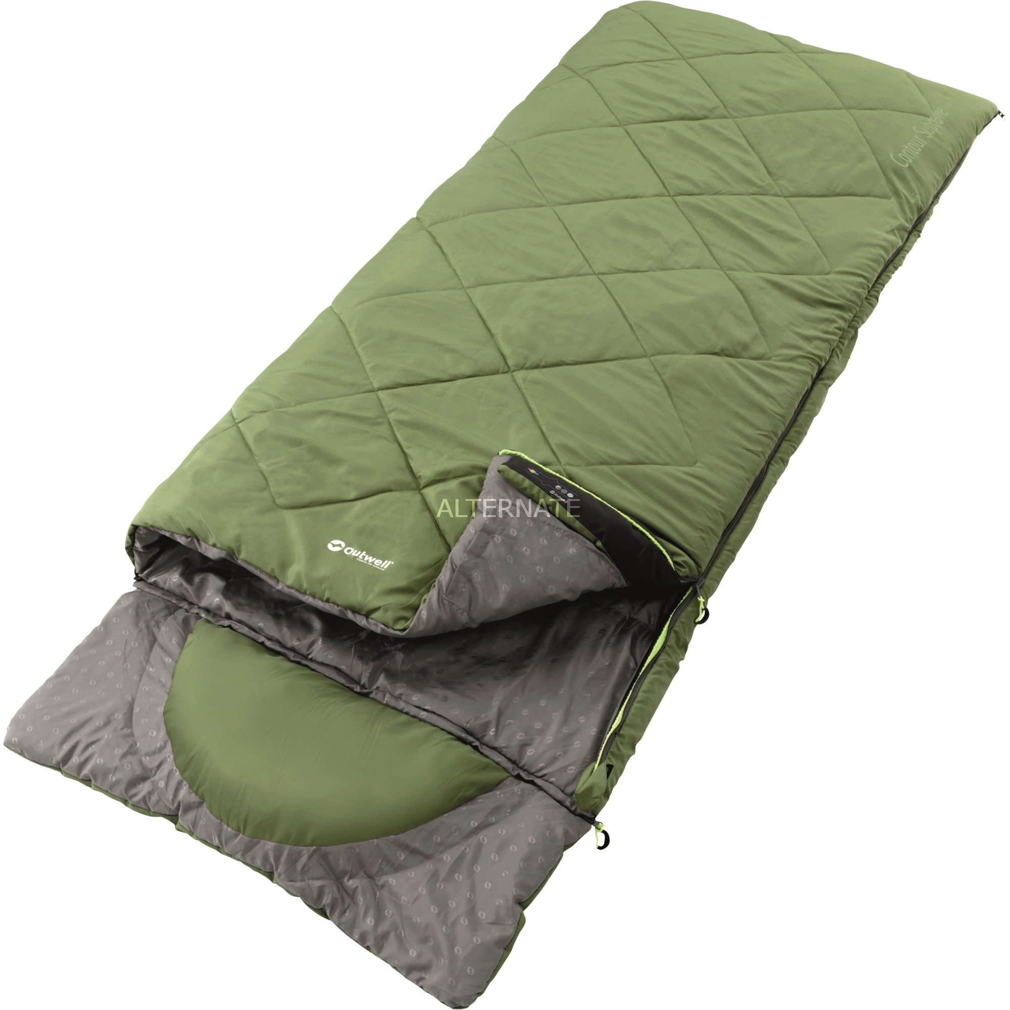 sovepose-contour-supreme-voksen-rectangular-sleeping-bag-mikrofiber-gron