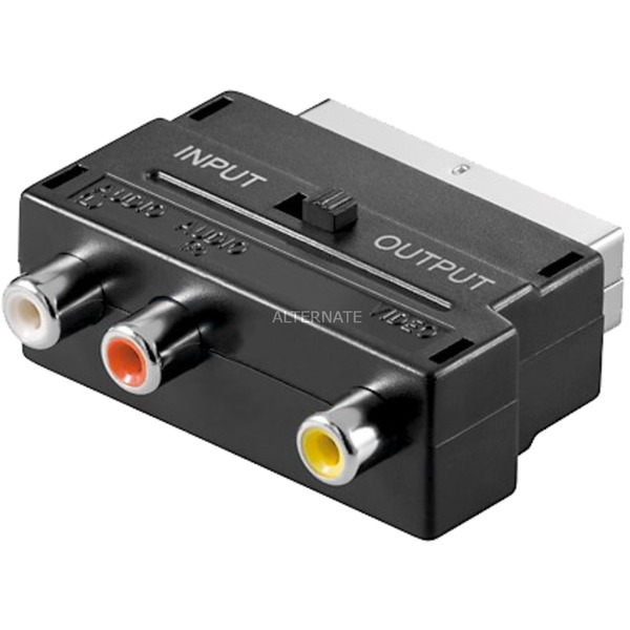 avk-195-scart-3x-rca-sort-kabelinterface-samt-han-og-hun-adaptor-adapter