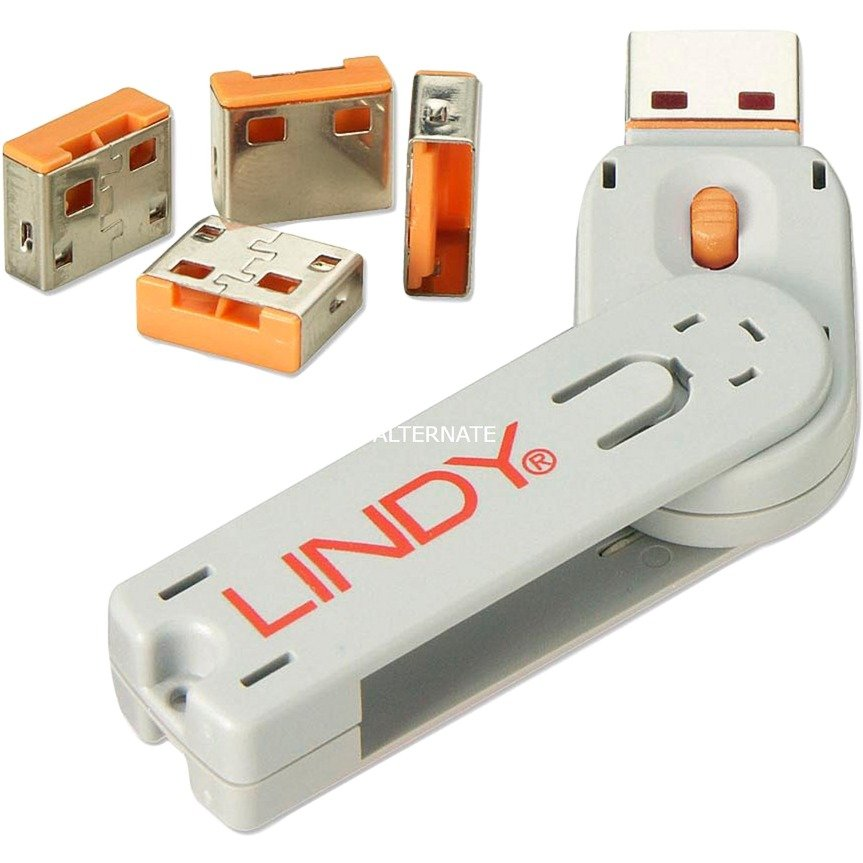 usb-port-blocker-pack-4-colour-code-orange-kontrolsystem-til-sikkerhed-beskyttelse-mod-tyveri